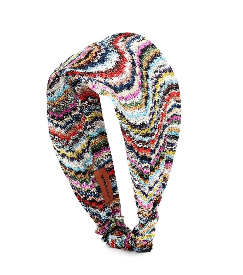 Missoni Metallic Knitted Headband In Multicoloured