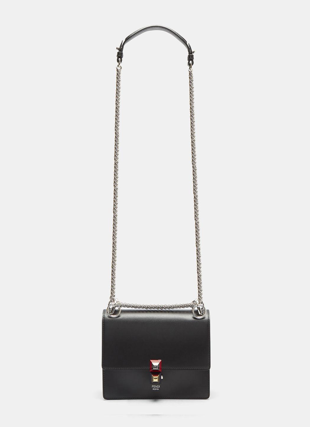 Fendi Kan I Mini Leather Shoulder Bag In Black