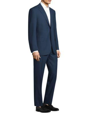 Canali Double-stripe Wool Suit In Blue