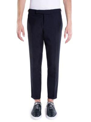Thom Browne Low-rise Skinny Side Wool Trousers In Navy