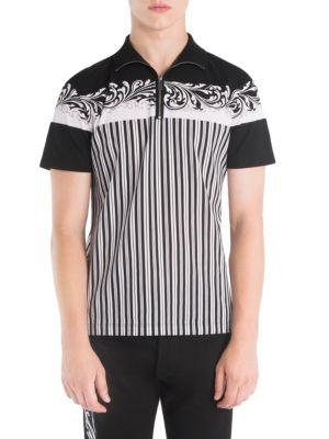 Versace Baroque Printed Striped Polo Shirt In A71r
