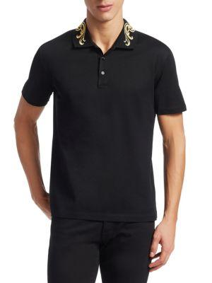Versace Barrrocco Medusa Embroidered Polo In Black/gold