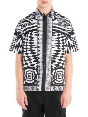 Versace Printed Silk Short-sleeve Button-down Shirt In White Black