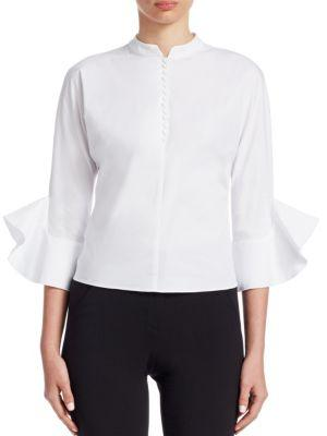 Emporio Armani Stretch Cotton Poplin Shirt In White