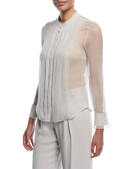 Emporio Armani Button-front Sheer Silk Blouse With Front Panel In Gray