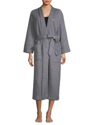 Natori Quilted Knit Robe In Heather Grey
