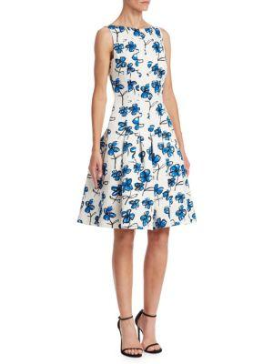 Oscar De La Renta Boat-neck Floral-print Dress With Pockets In White