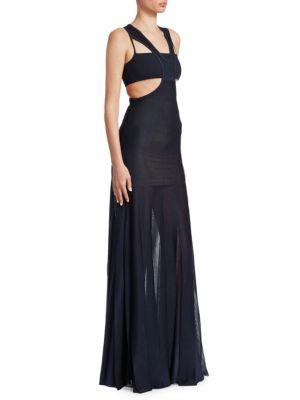 Roberto Cavalli Knit Cut-out Gown In Navy