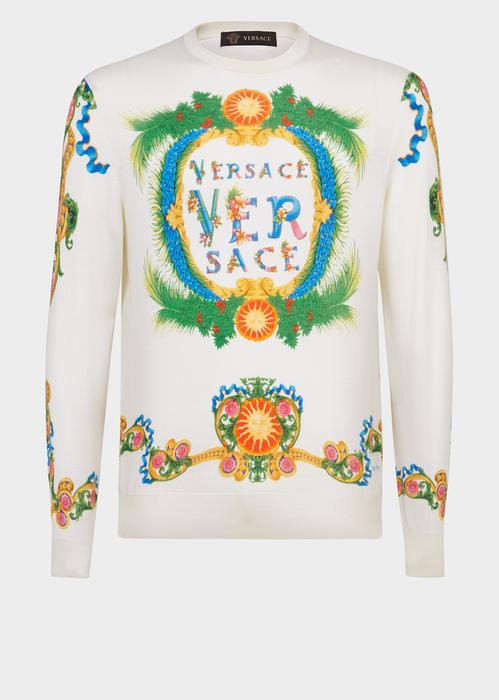 Versace Beverly Palm Silk Sweater In Print
