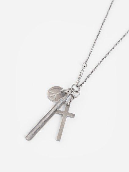 Werkstatt:mÜnchen Werkstatt Munchen Silver Cross Peace And Bar Necklace