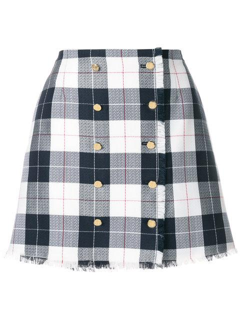 Thom Browne Women's Multicolor Backstrap Mini Skirt In Large Buffalo Check In White