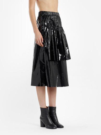Sara Lanzi Women's Black Lurex Ruffle Skirt