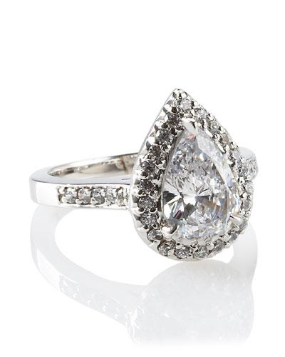 Fantasia By Deserio Antique Pear-shaped Ring In Cz