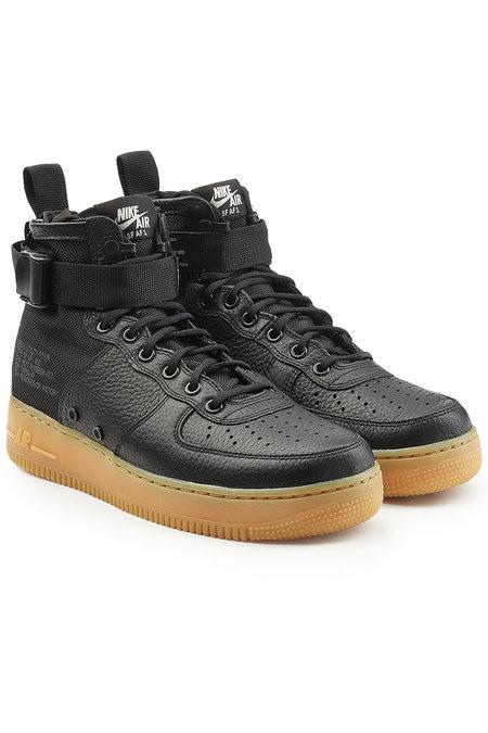 Nike Sf Air Force 1 Mid Top Sneakers With Leather And Mesh In Black