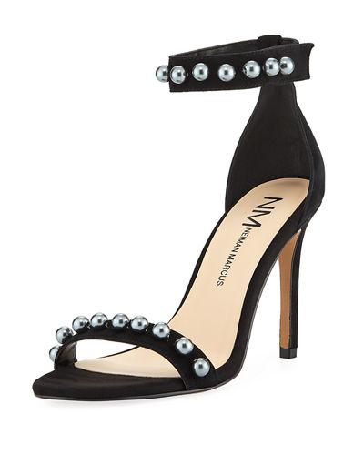 Neiman Marcus Arena Suede Pearlescent Sandal In Black/silver