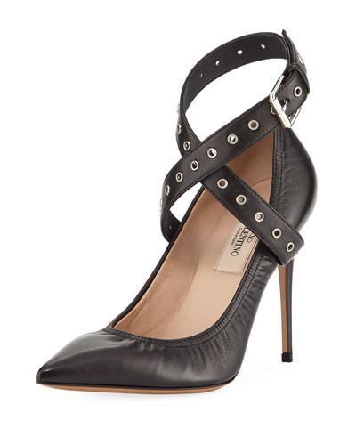 Valentino Grommet Crisscross Leather Pumps In Black