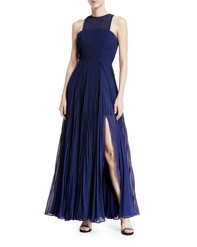 Fame And Partners Valerie Pleated High-neck Gown In Navy