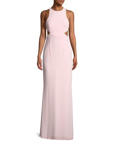 Fame And Partners The Axis High-neck Gown In Pink