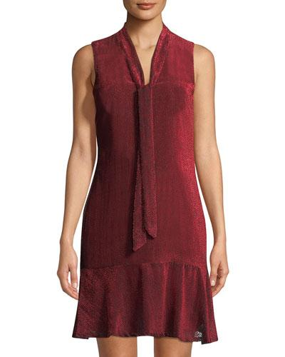 Karl Lagerfeld Pindot Velvet Tie-neck Dress In Dark Red