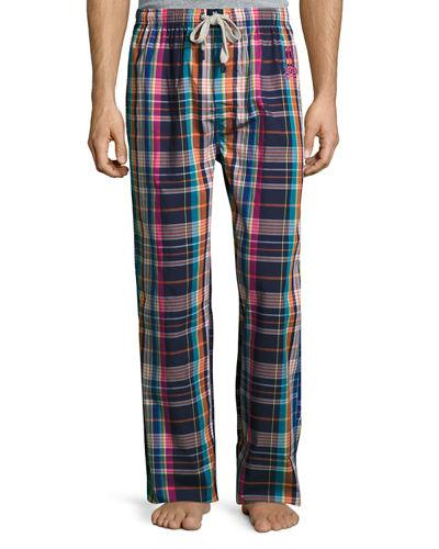 Psycho Bunny Print Woven Lounge Pants In Bouy Plaid