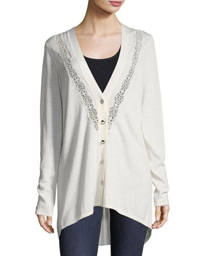 Elie Tahari Amber Wool Embroidered Cardigan In Antique