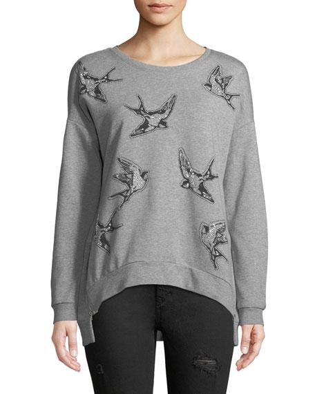 Free Generation Bird Print Zip-side Sweatshirt In Gray