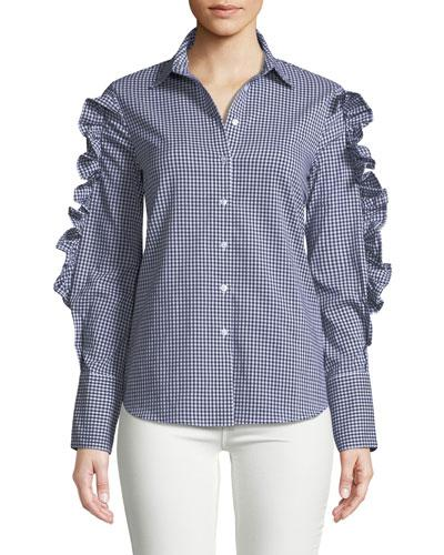 Free Generation Gingham Ruffle-sleeve Button-down Blouse In Blue/white
