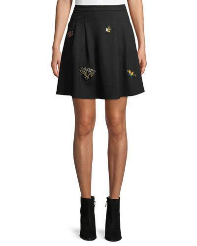 Free Generation Insect-embroidered A-line Skirt In Black