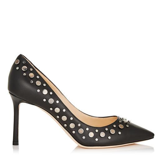 Jimmy Choo Romy 85 Black Nappa Leather Pointy Toe Pumps With Anthracite Studs In Black/anthracite