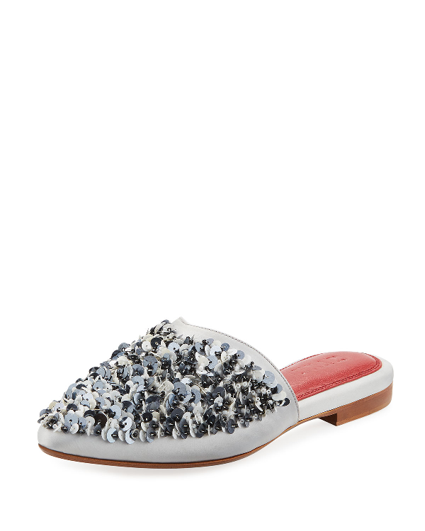 Zyne Mercure Sequined Satin Mule Slide In Gray