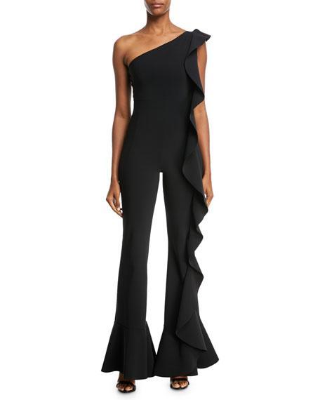 Chiara Boni La Petite Robe Dada One-shoulder Ruffle Jumpsuit In Black