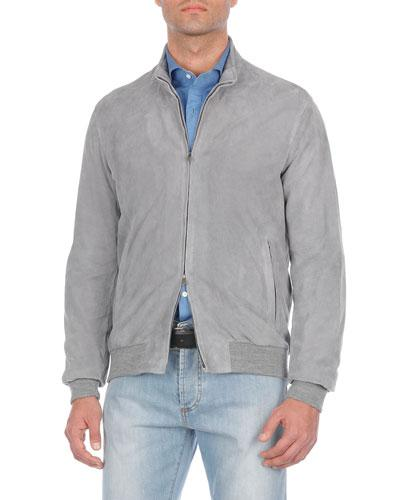 Isaia Perforated Suede Blouson Jacket In Gray
