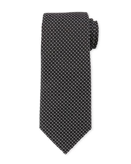 Giorgio Armani Box-pattern Silk Tie In Black