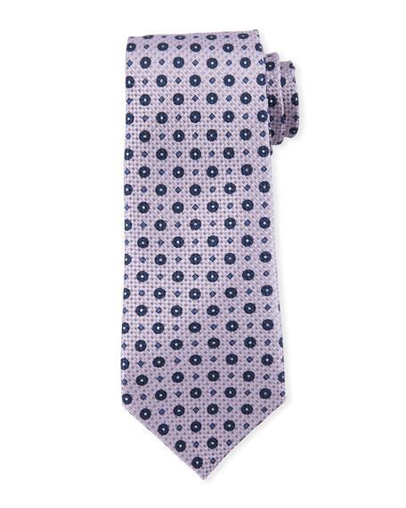 Giorgio Armani Flower-pattern Silk Tie In Lilac