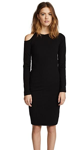 Monrow Cutout Shoulder Dress In Black