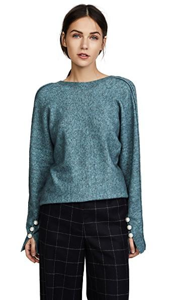 3.1 Phillip Lim Sweater With Back V In Ocean Blue