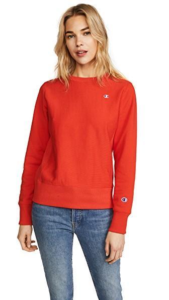 Champion Reverse Weave Terry Crew Neck Sweatshirt In Fer Red