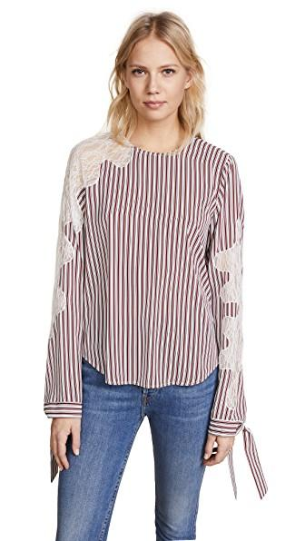 Robert Rodriguez Lace Inserted Stripe Blouse In Crimson Barcode