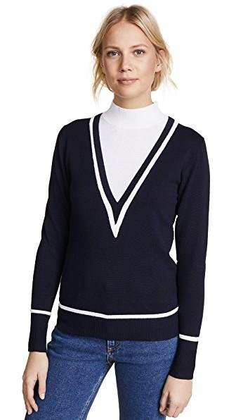 Victor Glemaud Layered Cotton And Cashmere-blend Turtleneck Sweater In Midnight Blue