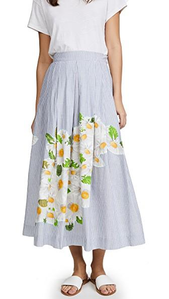Isolda Embroidered Rio Skirt In Blue/white