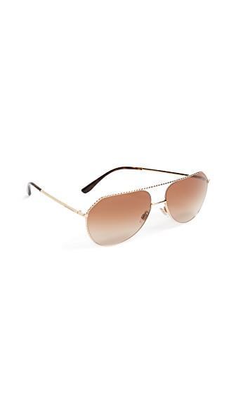 Dolce & Gabbana Ortensia Aviator Sunglasses In Gold/brown