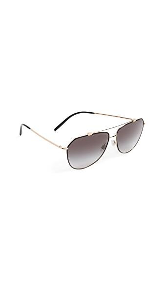 Dolce & Gabbana Ortensia Aviator Sunglasses In Black/grey