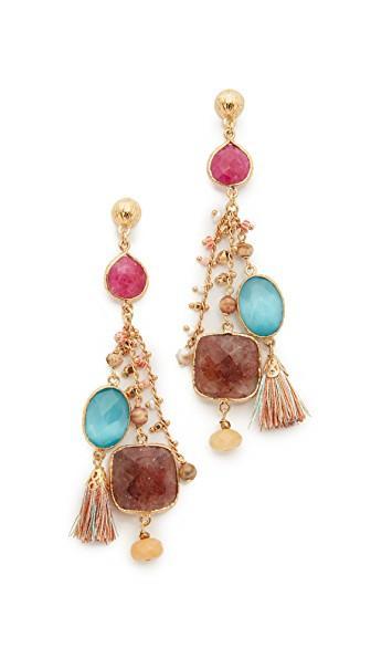 Gas Bijoux Serti Pondichery Earrings In Pink