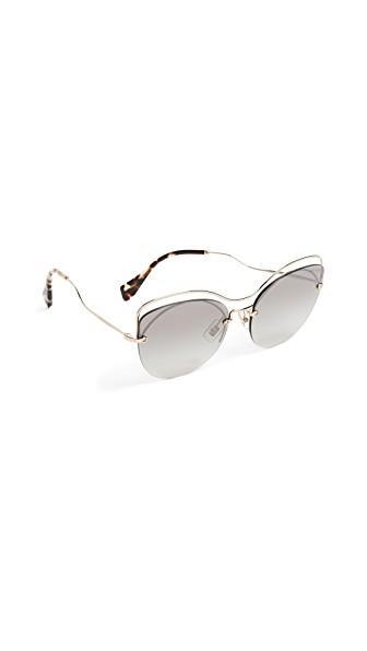 Miu Miu Evolution Sunglasses In Pale Gold/grey Silver