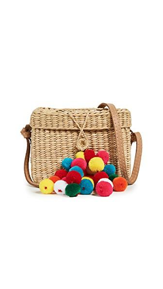 Nannacay Small Roge Pom Pom Bag In Off White/multi
