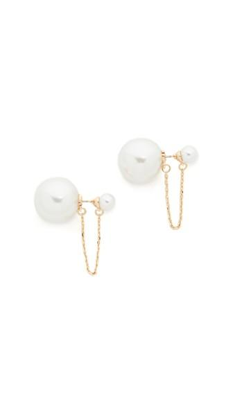Rebecca Minkoff Imitation Pearl Chain Front Back Earrings In Gold