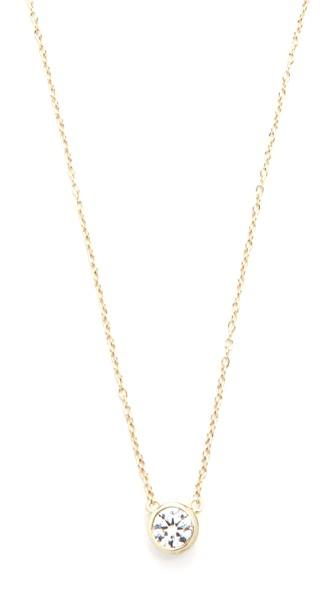 Shashi Solitaire Necklace In Gold/clear