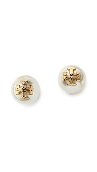 Tory Burch Evie Imitation Pearl Stud Earrings In Ivory