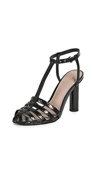 Diane Von Furstenberg Eva Leather T-strap Sandals In Black