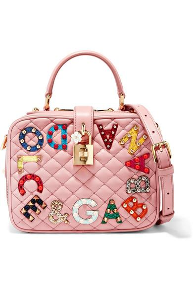 Dolce & Gabbana Lucia Embellished Watersnake And Quilted Leather Shoulder Bag In Pink